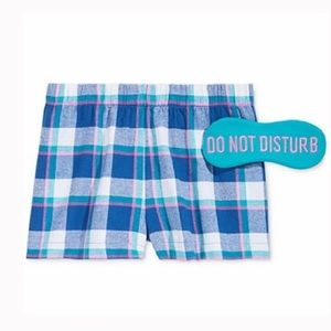 Boxer pajama shorts and eye mask set XS NWT
